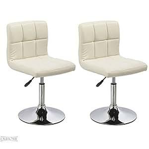 2er set esszimmerstuhl creme aus kunstleder k chenstuhl mit lehne h henverstellbar drehbar stuhl. Black Bedroom Furniture Sets. Home Design Ideas