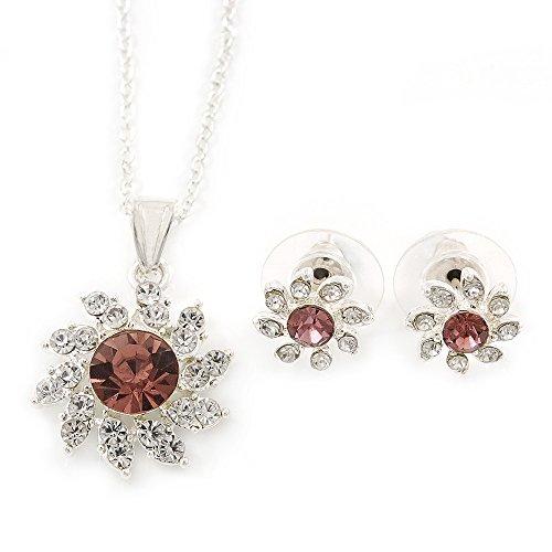 Trasparente/Viola cristallo austriaco ciondolo a forma di fiore con argento catena e orecchini set-40cm L/5cm), in confezione regalo