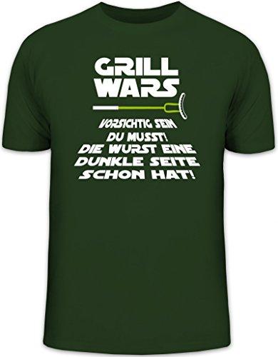 Lustiges Herren T-Shirt von Shirtstreet24 mit Dunkle Seite Grill Wars Aufdruck Dunkelgrün