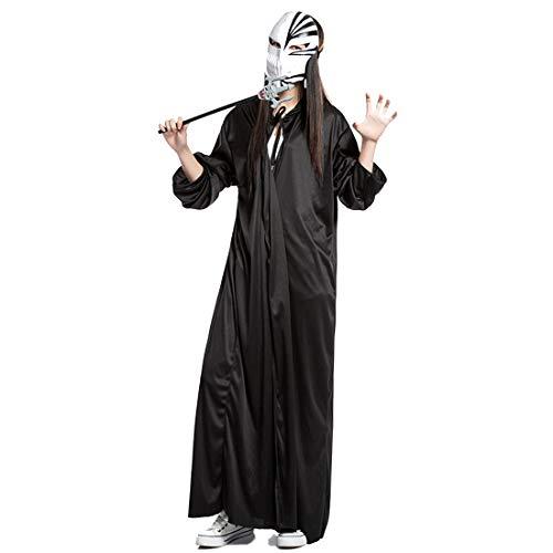 FLYA Halloween Death Cape Umhang Adult Velvet Hooded Cloak Vampire Masquerade Mit Kapuze Robe,1.6m-Black