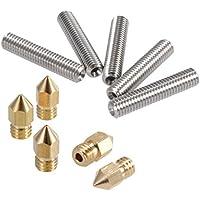 PChero 5 piezas M6 acero inoxidable boquilla de teflón + 5 piezas 0,4 mm latón extrusor boquilla cabezales de impresión para Anet A8 MK8 Reprap 3D impresoras