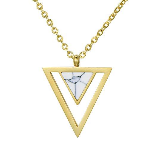 Morella Damen Halskette mit Dreieck Anhänger weiß Edelstahl Gold im Samtbeutel