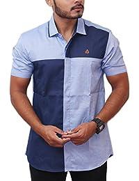 PP Shirts Men Blue Colored Partywear Shirt