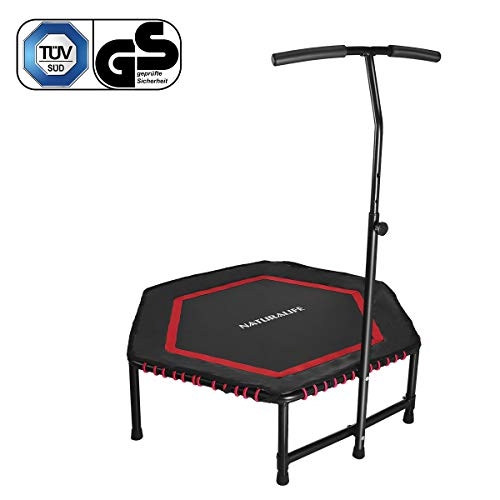 NATURALIFE Mini trampolín Fitness con Manillar, Cama elástica Fitness de 106 cm/42 Pulgadas para Ejercicio Corporal y Ejercicios cardiovasculares, Peso máximo 120 kg/260 lbs