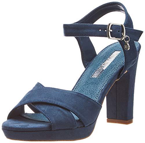 XTI 32035 Scarpe col Tacco con Cinturino Dietro la Caviglia Donna, Blu Navy, 38 EU