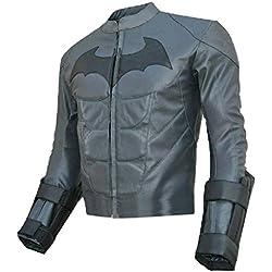Moda Hombre de Batman Dark Knight de piel Real chaqueta gris