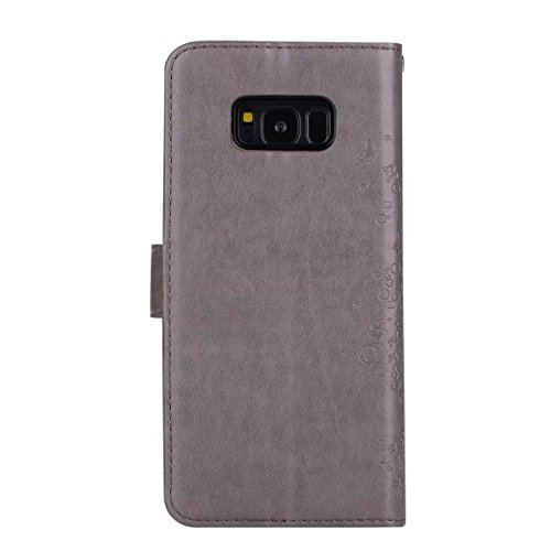 Abnehmbare 2 in 1 Crazy Horse Texture PU Ledertasche, Fairy Girl Embossed Pattern Flip Stand Case Tasche mit Lanyard & Card Cash Slots für Samsung Galaxy S8 Plus ( Color : Rosegold ) Gray