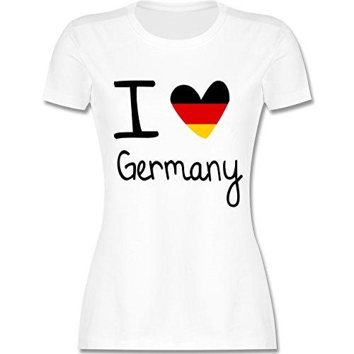 Fußball-Europameisterschaft 2020 - I Love Germany - M - Weiß - L191 - Damen Tshirt und Frauen T-Shirt