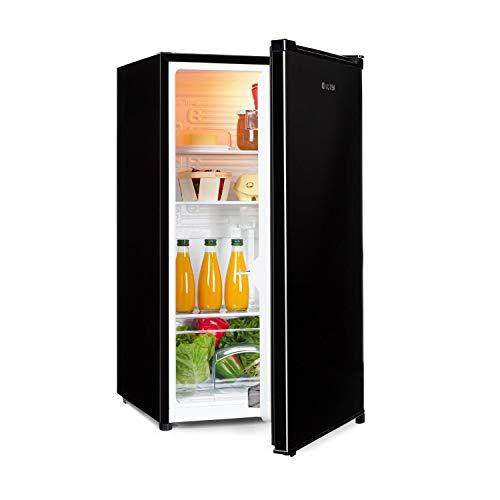 Klarstein Hudson - Réfrigérateur compact, 88L, Econome en énergie, 3 clayettes, Bac à légumes, Grand porte-boissons, Eclairage intérieur LED, Porte en inox brossé, 7 niveaux de thermostat, Noir
