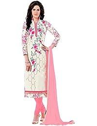 Jheenu Women's Cream Glass Cotton Unstitched Dress Materials