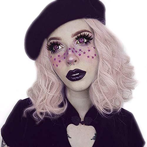 STfantasy Damen Perücke Rauch Rosa LockigBob Lolita Süß wig für Cosplay Halloween Kostüm Party Karneval (Lockige Perücke Fee Kostüm)