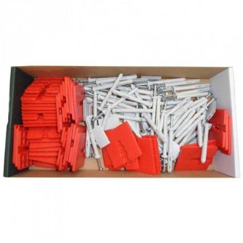 Montageset für Alu- Sockelschiene Sockelprofil Montage bestehend aus 75 Dübel 8x80, 10 Verbinder, 50 Abstandshalter 3mm Fassadendämmung EPS Dämmung Dämmplatten