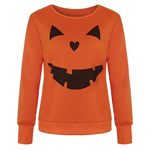 LOPILY Halloween Shirts Kürbis Kostüm Damen Orange