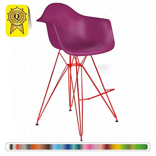 Decopresto 1 x Fauteuil Haut Tabouret de Bar Inspiration Eiffel Pieds: Acier Rouge Assise : Plastique Violet