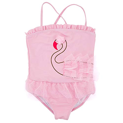 Mädchen Badeanzug Mädchen Kinder Cute Pink Swan Pattern Einteilige Bikini Badeanzug Prinzessin Bademode 1-6 Jahre Süßer einteiliger Badeanzug für Kinder (Größe : 3T) -