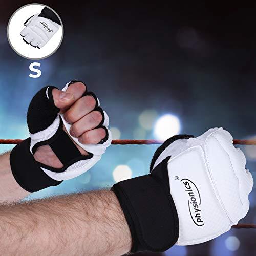 Physionics® Guanti da Palestra | Taglia S/M/L/XL, Senza Dita, Adulto Unisex, per Allenamento, Combattimento di Sacco MMA UFC Sparring, Nero/Bianco | Guantoni da Boxe Mezzo Dito (S)
