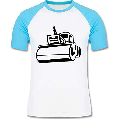 Andere Fahrzeuge - Dampfwalze - zweifarbiges Baseballshirt für Männer Weiß/Türkis
