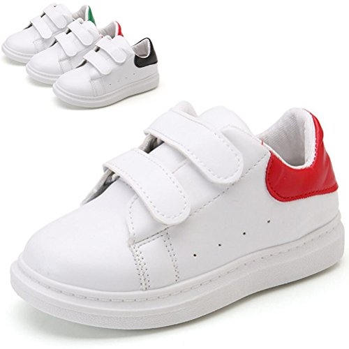 DADAWEN Boy's Girl's White Classic Strap School Uniform Sneaker (Toddler/Little Kid/Big Kid) White/Red US Size 1 M Little Kid (Big School Kids Sneakers)