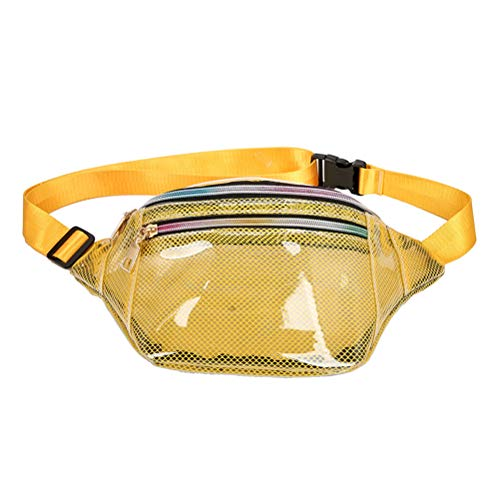 Fenical Fanny Pack Clear Mesh Chest Bag PVC Waterproof Beach Sling Bag for Women Gril (Yellow) -