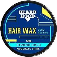 Beardhood Zero Residue Strong Hold Hair Wax 100g | Moderate Shine | Zero Toxin & V