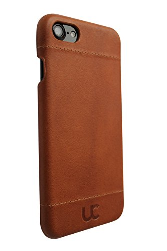 URBAN COVER® iPhone 6/6s LEDER Hülle Leder Case Hard Cover Premium Echtleder ultradünn COGNAC BRAUN, für das Apple iPhone 6S und das iPhone 6 (4,7