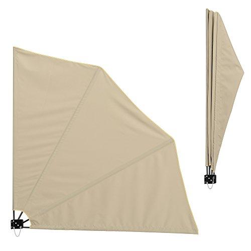 [casa.pro] Balkon - Fächermarkise (beige)(160 x 160 cm) Sichtschutz/Seitenmarkise klappbar/Balkonumspannung/Wandklappschirm
