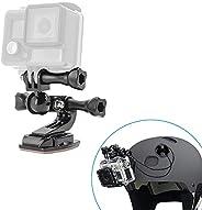 woleyi helmhouder voor GoPro, motorfietshelm houder met veiligheidskabel, 360 graden zwenkarm, gebogen helm kinmontageset vo