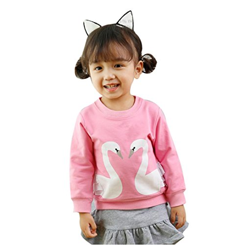 Bekleidung Longra Baby Kinder Mädchen Kleidung Herbst Langarm Schwan-Druck Sweatshirt Oberseiten Mädchen Kleidung(0-4Jahre) (120CM 4Jahre, (Kostüm Ideen Mädchen Für 2)