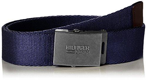 Hilfiger Denim Thd Sld Plaque Webbing Belt 4, Cintura Uomo, Blu (Tommy Navy), 95 cm (Taglia Produttore: 95)