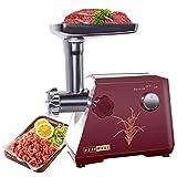 LINN Elektrischer Fleischwolf,Profi Wurstmaschine Set,Multifunktions Küchenmaschine Fleisch,Edelstahlklinge/400W/Rot