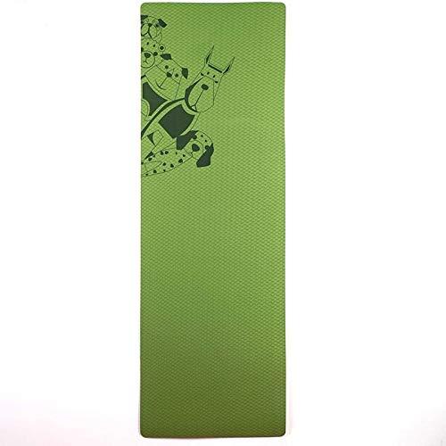 Umweltfreundliche rutschfeste TPE Yoga-Matte, mit Riemen und Tragegurt (Color : Green)