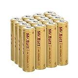 Mr.Batt NiCD AA Rechargeable Batteries for Solar Lights 1.2V 1000mA, 16 Pack