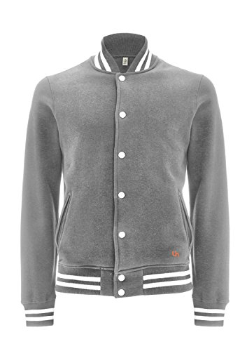 Underhood of London Herren Collegejacke Weste Grau - Melange Grey - White Stripes