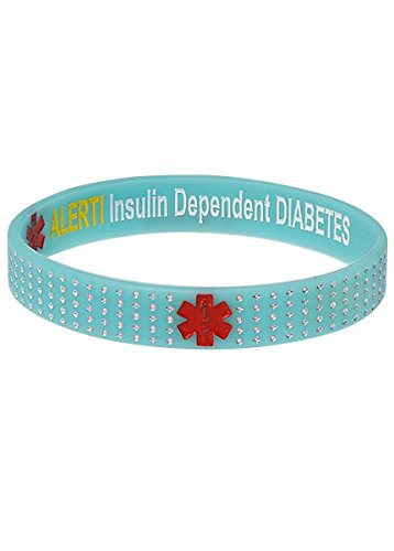 Funda insulina dependiente diabetes turquesa lunares alerta médica bracelet-m