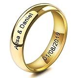 MeMeDIY 6mm Oro Dorado Tono Acero Inoxidable Anillo Ring Banda Venda Alianzas Boda Amor Love Talla Tamaño 17 - Grabado Personalizado