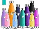 KollyKolla Bottiglia Acqua in Acciaio Inox, 500ml Senza BPA Borraccia Termica, Isolamento Sottovuoto a Doppia Parete, Borracce per Bambini, Scuola, Sport, All'aperto, Palestra, Yoga, Smeraldo