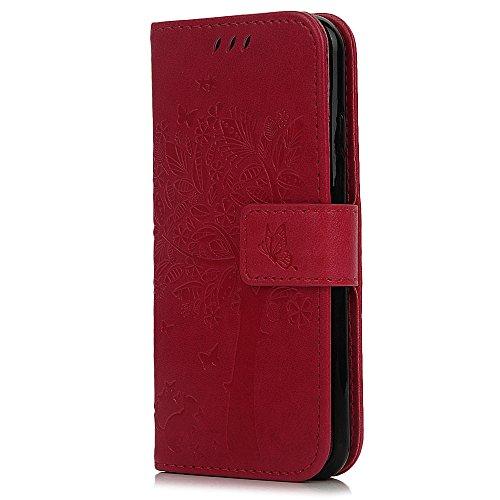 Coque iPhone 6, Coque iPhone 6S, Bookstyle Étui Arbres Housse Imprimé en PU Cuir Case à rabat Coque de protection Portefeuille TPU Silicone Case pour iPhone 6 / 6S - Gris Rouge