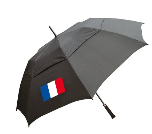 Golf Double Canopy Storm Umbrella with French Flag and Free Sherpashaw Tees