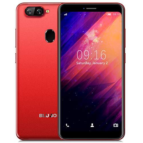 Smartphone ohne Vertrag, BLUBOO D6s Android 8.1 Dual RückseitenKameras (5MP+8MP) Handys Günstig, 2GB RAM + 16GB ROM, 5,5 Zoll 18:9 mit 2700mAh Akku, Gesichtserkennung, Fingerabdruck - Rot