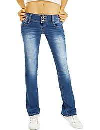 Bestyledberlin Damen 70s Boot-Cut Jeans, Ausgestellte Vintage Style Slim Fit Schlaghose j19g