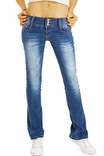 Bestyledberlin Damen 70s Boot-Cut Jeans, Ausgestellte Vintage Style Slim Fit Schlaghose j19g 42/XL (Vintage Cut Designer Jeans-jeans)