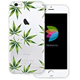 dessana Cannabis Weed Transparente Silikon TPU Schutzhülle 0,7mm dünne Handy Tasche Soft Case für Apple iPhone 6/6S Cannabis Muster