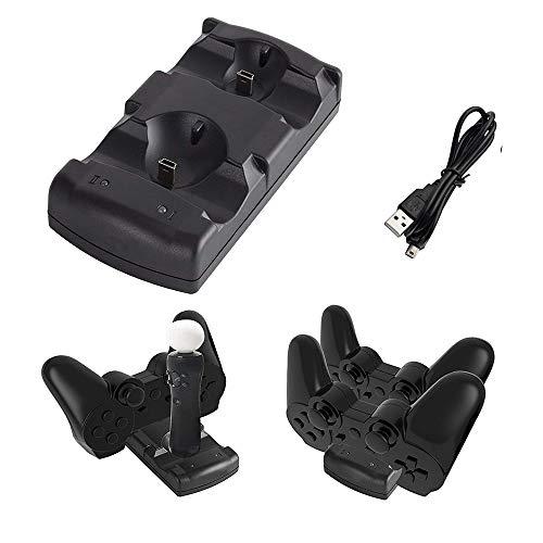 Kailisen Playstation 3 Controller Ladestation 2 in 1 mit LED Lichtanzeige kompatibel für Playstation PS3/MOVE Controller, schwarz