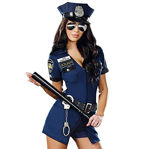 Zoe Cosplay Polizist Versucht Blauen Reißverschluss Polizei Geladen Halloween-Party-Spiel Uniform,Blue,M