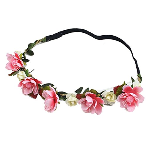 eckpeak Stirnband Blumenkrone Festival Hochzeit Haarkranz Blumenstirnban (Rote Weiße Und Blaue-blumen-stirnband)