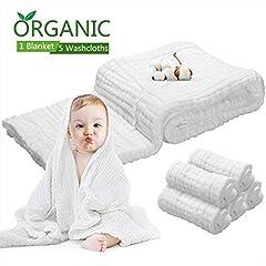 Idea Regalo - Asciugamani neonati Asciugamani da bagno mussola - asciugamani neonato in cotone naturale antibatterico, assorbente, 100% di 6 strati + 5 pezzi Asciugamani da bagno in puro cotone