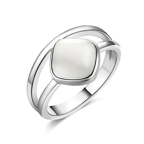 et Damen Silber Quadrat Opal Jahrestag Braut Vertrauensring Trauringe Ring Gr.60 (19.1) (Quadrat Verlobungsring Weißes Gold)