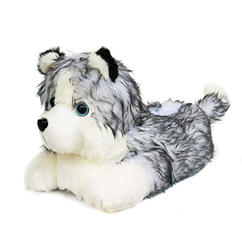 Onmygogo Fuzzy Winter Animal Husky House Slippers for Men and Women