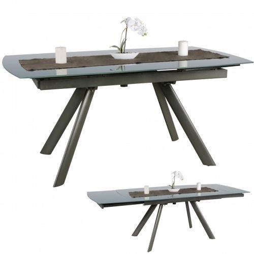 Wohnling Esszimmertisch Noble 160-240 cm Ausziehbar Dunkelgrau Metall/Glas | Tisch für Esszimmer rechteckig | Küchentisch 6-10 Personen | Design Esstisch