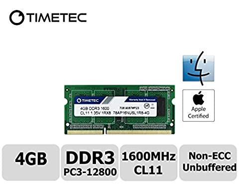 Timetec Hynix IC Apple 4GB DDR3 1600MHz PC3-12800 SODIMM Memory Upgrade For MacBook Pro 13-inch/15-inch Mid 2012, iMac 21.5-inch Late 2012/Early 2013,27-inch Late 2012/ 2013,Retina 5K display Late 2014/Mid 2015,Mac mini Late 2012/ Server (4GB)